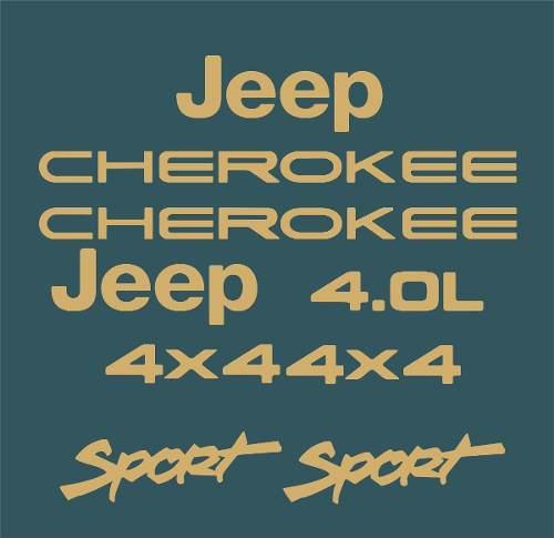 Kit Adesivo Dourado Resinado Jeep Cherokee Sport Verde Dr3
