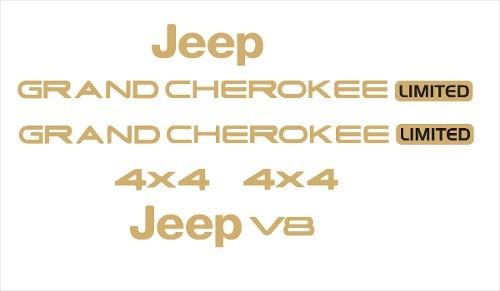 Kit Adesivo Emblema Resinado Jeep Grand Cherokee V8 Ouro 02