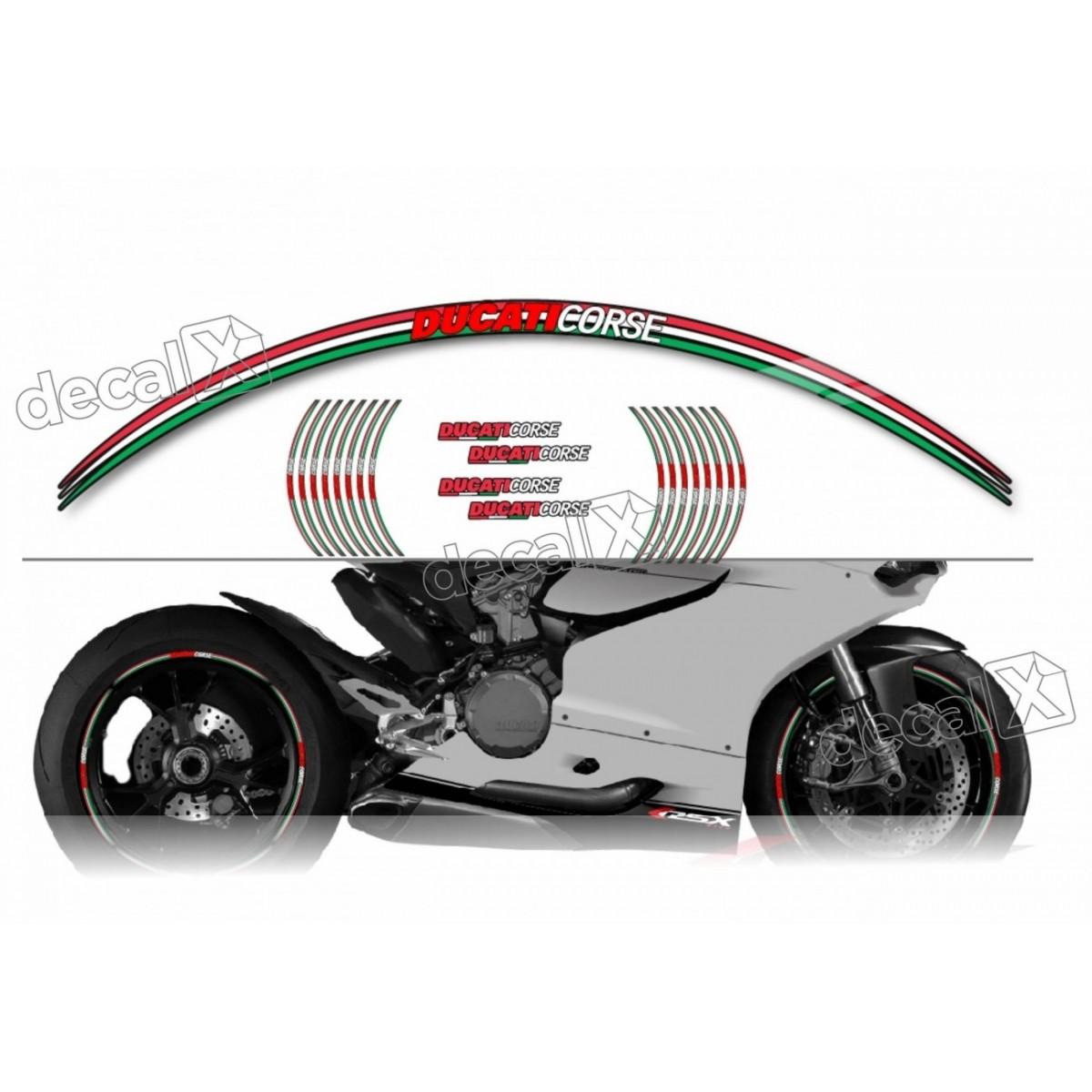 Kit Adesivo Friso Refletivo Roda Moto Ducati Corse Fri22