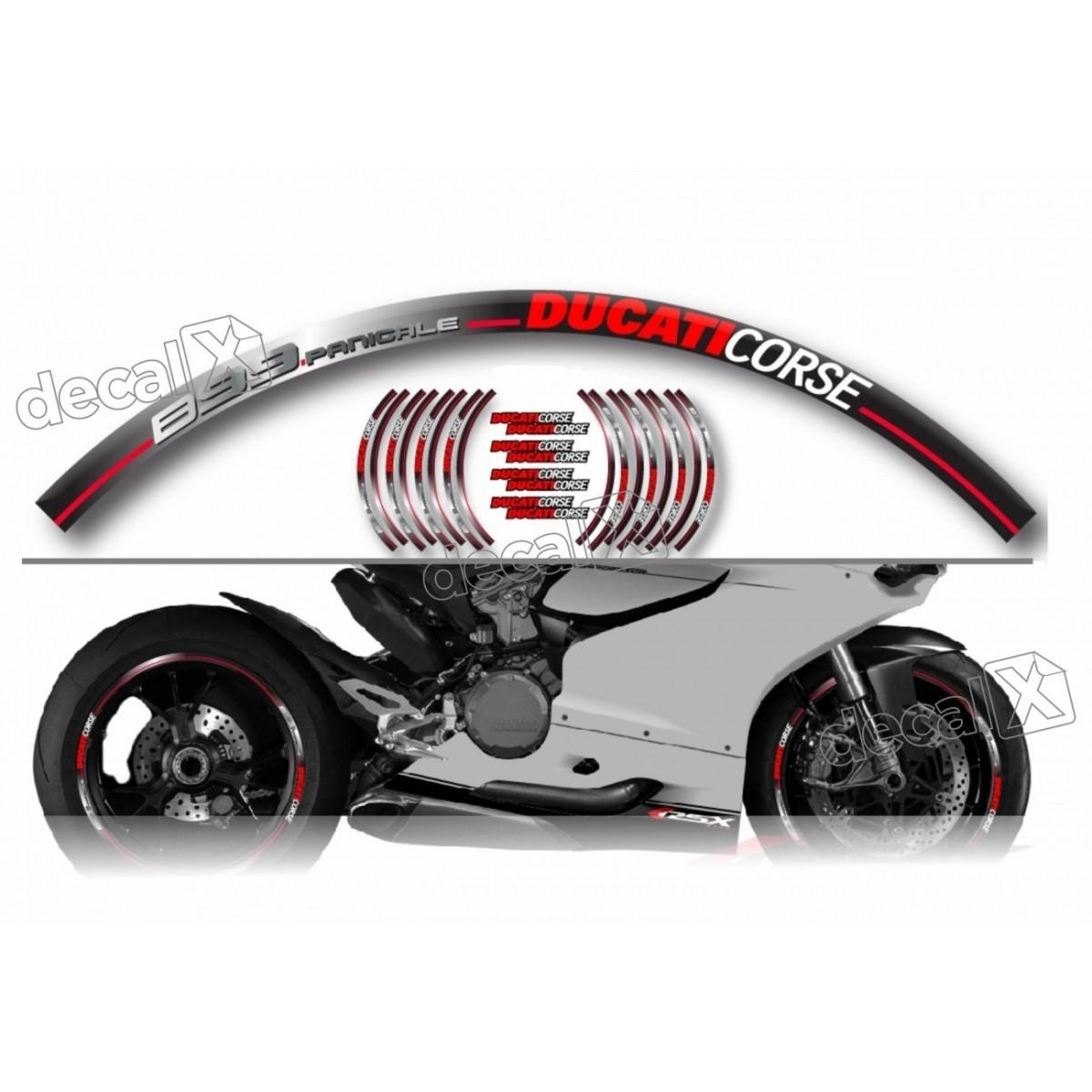 Kit Adesivo Friso Refletivo Roda Moto Ducati Fri21 Decalx