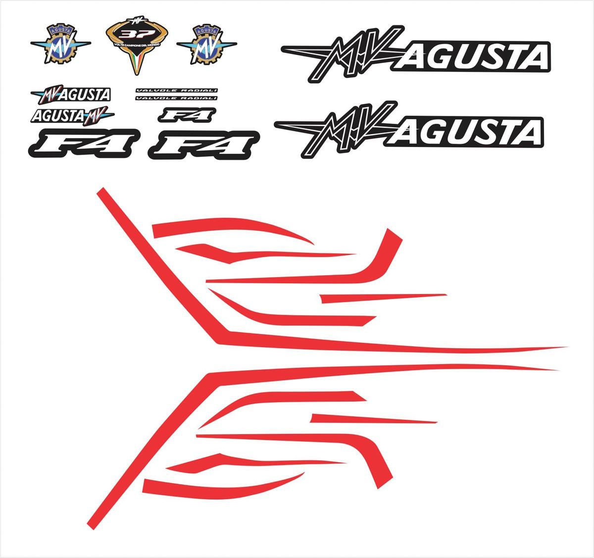 Kit Adesivo Mv Agusta F4 2014 Preta Ag013