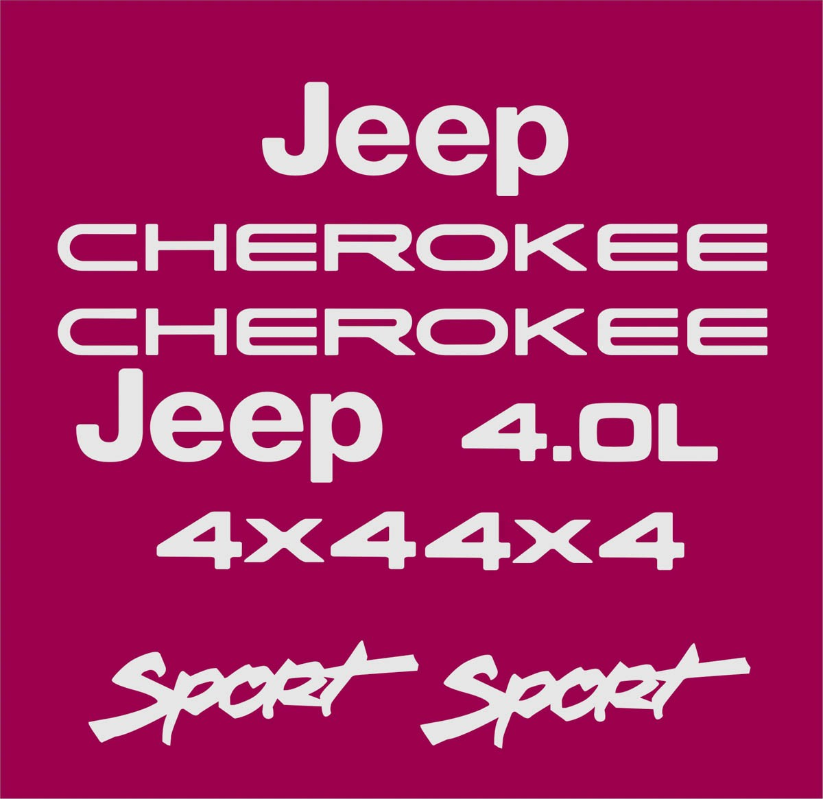 Kit Adesivo Resinado Jeep Cherokee Sport Bordo Chkrs08