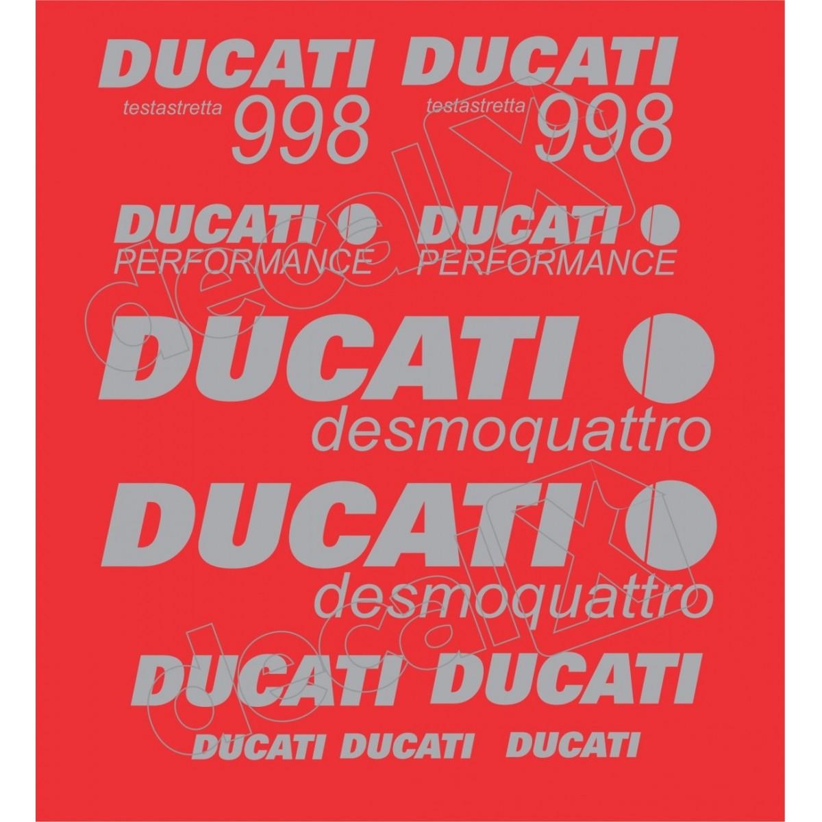 Kit Adesivos Ducati 998 Desmoquattro Performance Vermelha