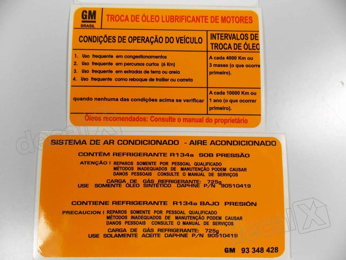 Kit Adesivos Etiquetas Motor Chevrolet Agile Astra