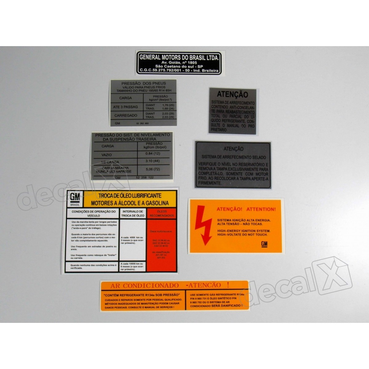 Kit Adesivos Etiquetas Motor Chevrolet Omega
