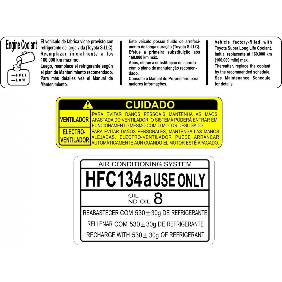 Kit Adesivos Etiquetas Motor Toyota Corolla - Decalx