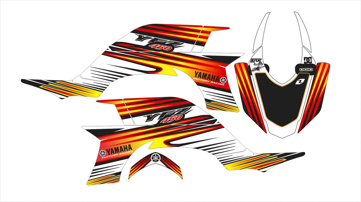 Kit Adesivos Quadriciclo Yamaha Yfz 450 0,60mm 3m Yh072