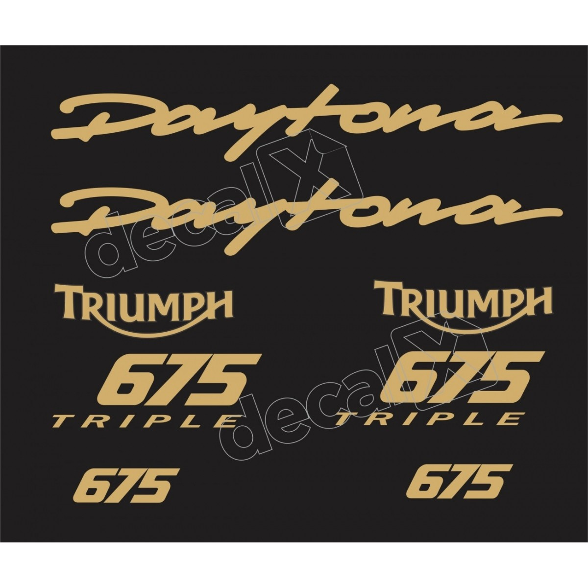 Kit Adesivos Triumph Daytona 675 Preta E Dourado Decalx
