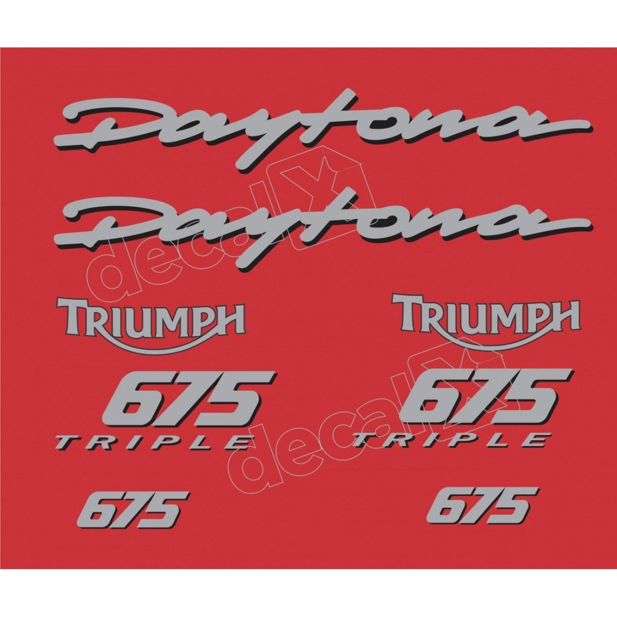 Kit Adesivos Triumph Daytona 675 Vermelha E Prata Decalx
