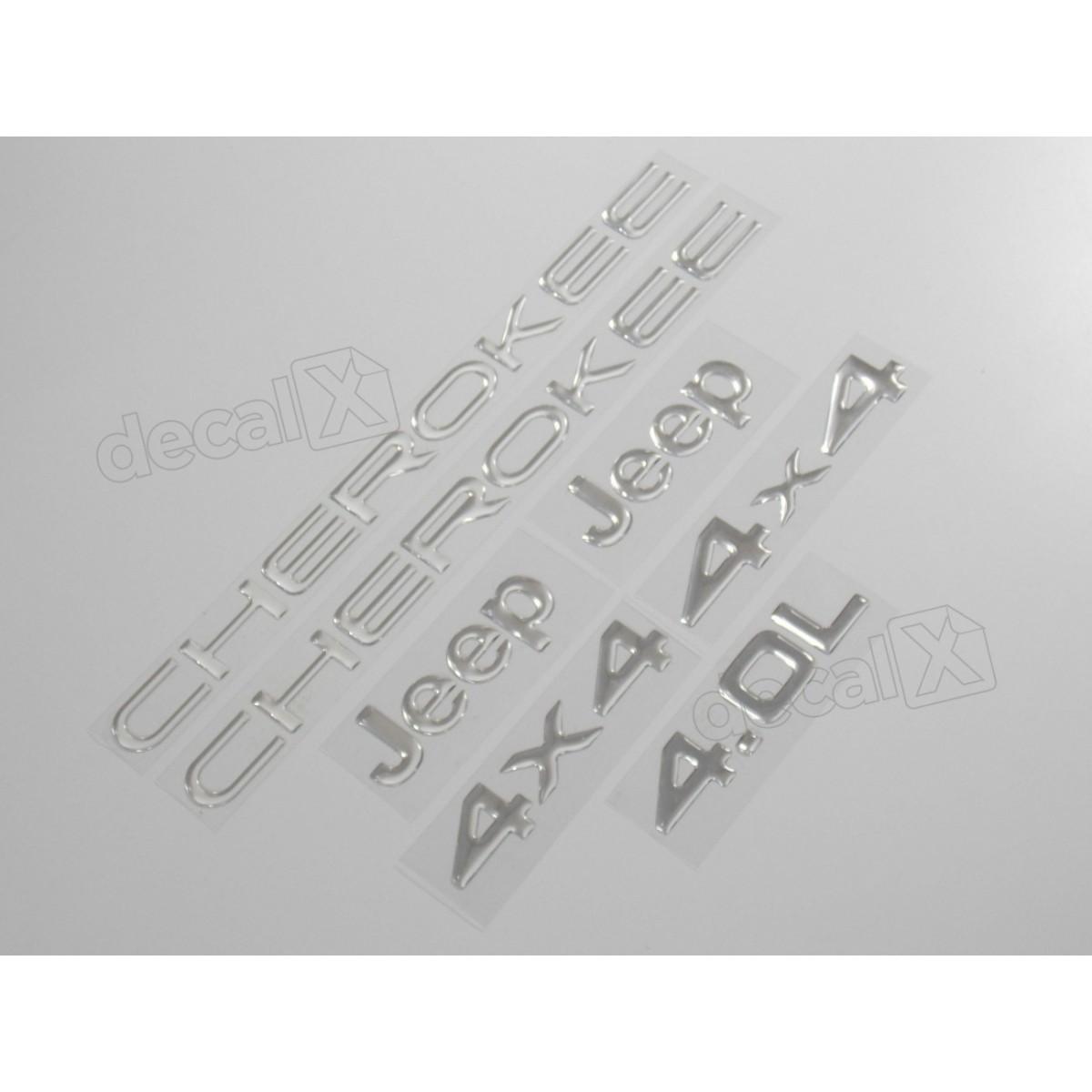 Kit Emblema Adesivo Resinado Cherokee 4x4 4.0l Cromado