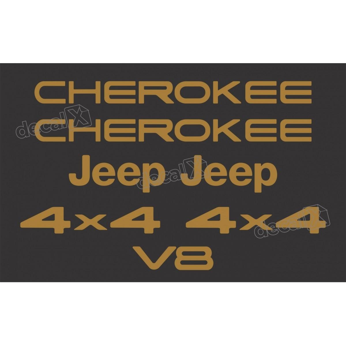 Kit Emblema Adesivo Resinado Cherokee 4x4 V8 Dourado