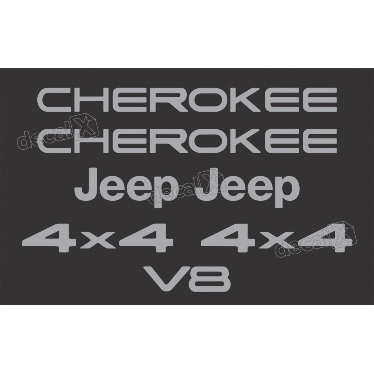 Kit Emblema Adesivo Resinado Cherokke 4x4 V8 Cromado