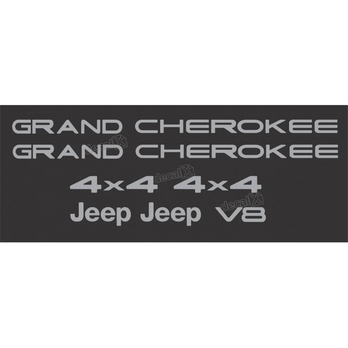 Kit Emblema Adesivo Resinado Gran Cherokee 4x4 V8 Cromado