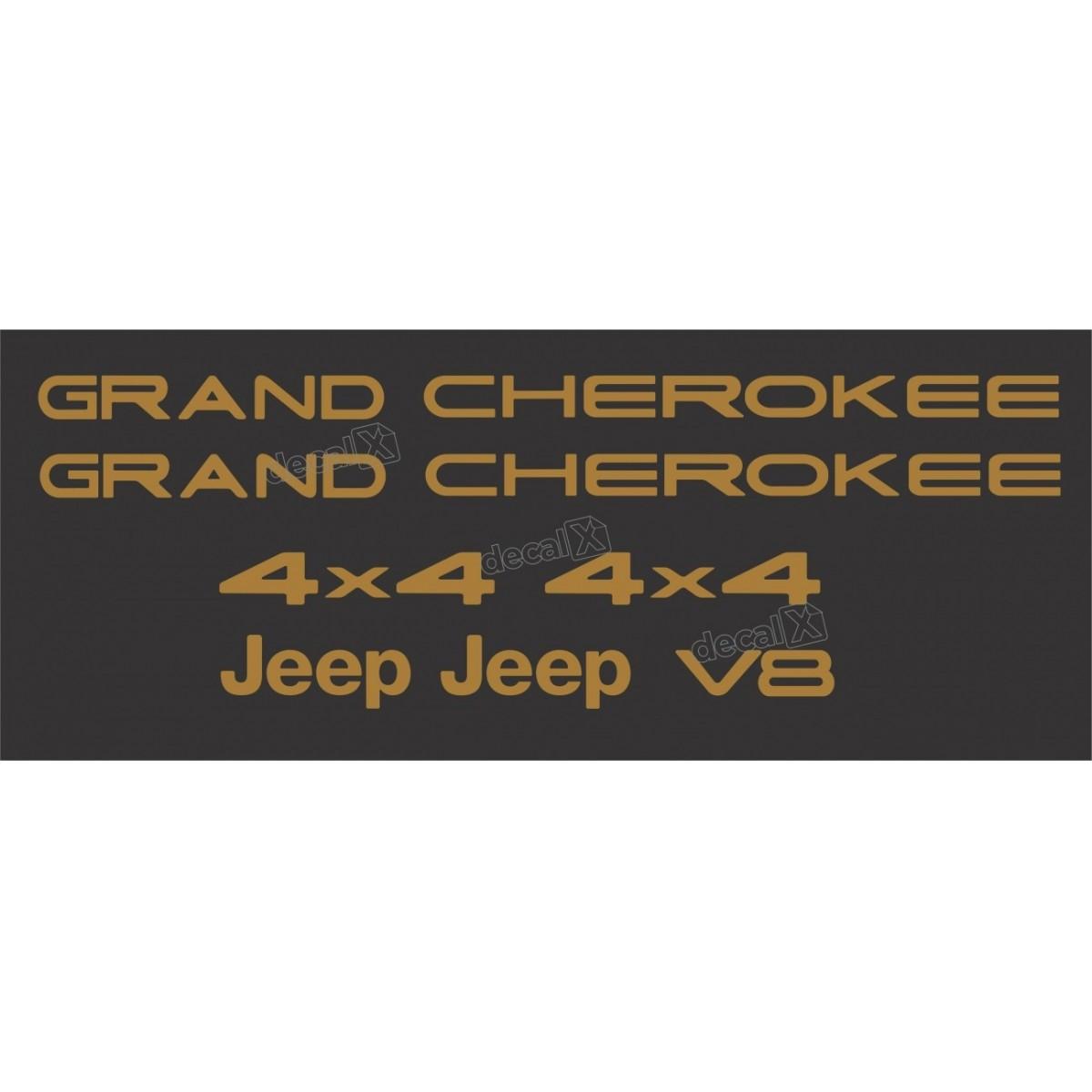 Kit Emblema Adesivo Resinado Gran Cherokee 4x4 V8 Dourado