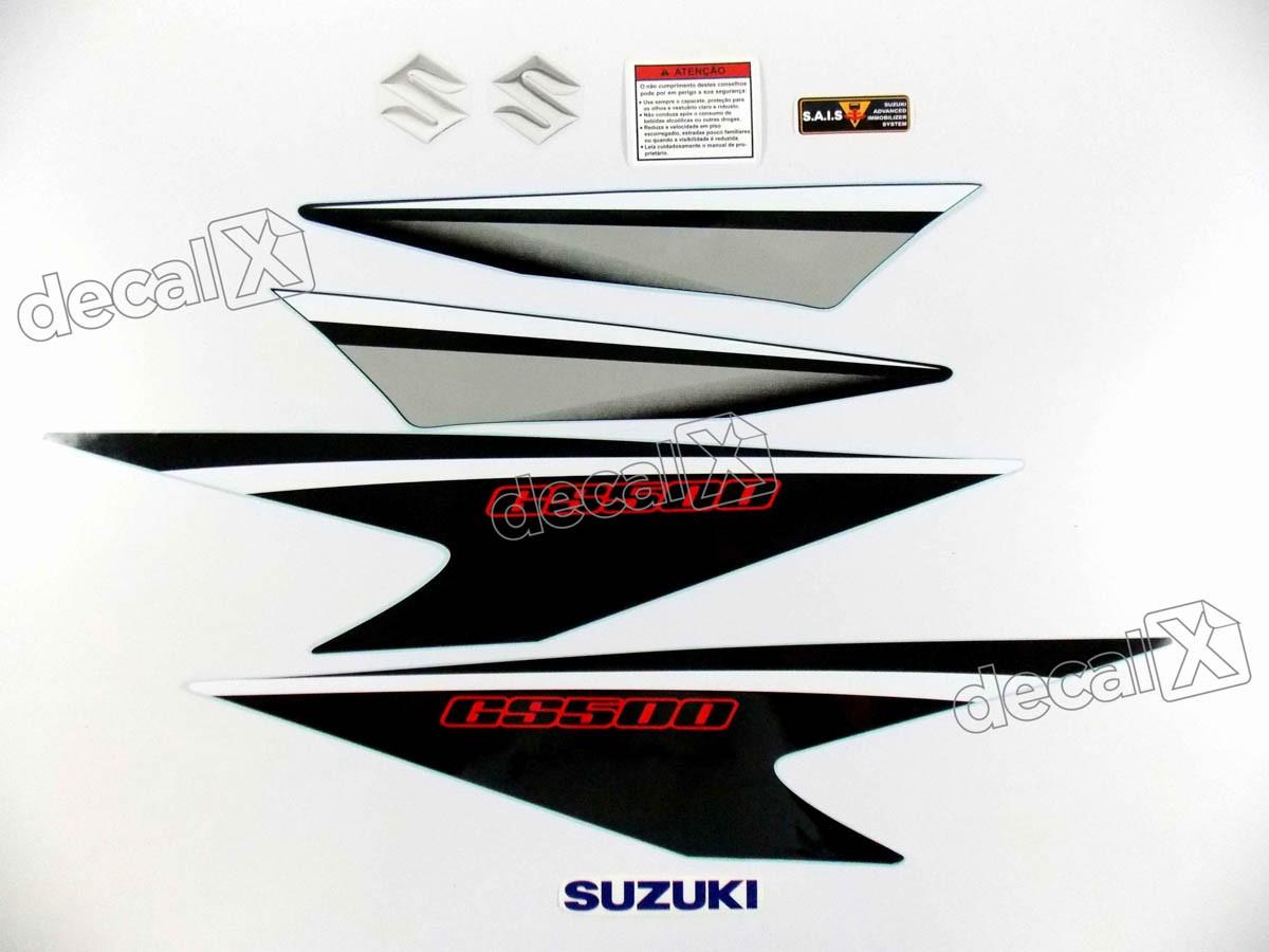 Kit Jogo Faixa Emblema Adesivo Suzuki Gs500 Preta Gs504