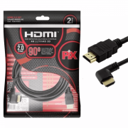 Cabo Hdmi 2.0 4k 2 Metros Plug 90 Grau Ultra Hd 3d Ethernet 018332