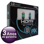 Cabo Hdmi Ethernet 12m Blindado 2.0 C/ Filtro 4k Ultra Hd 3d
