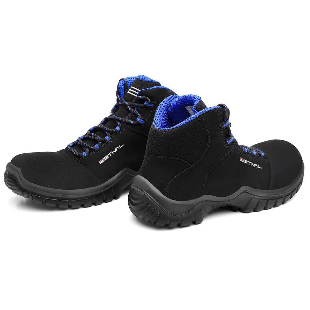 Bota De Segurança Estival Microfibra Preto E Azul  En10071s2 CA 28.543