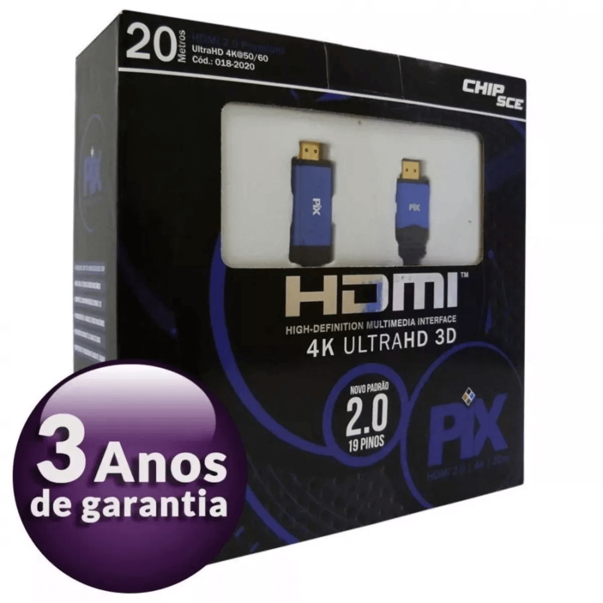 Cabo Hdmi 20m C/ Filtro 2.0 4k Ultra Hd 3d 19 Pinos 018-2020