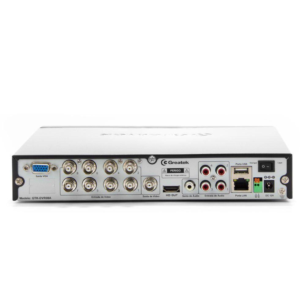 Gravador de Vídeo HVR Híbrido Greatek 960h Analógico + IP 08 Canais WD1 Full HD