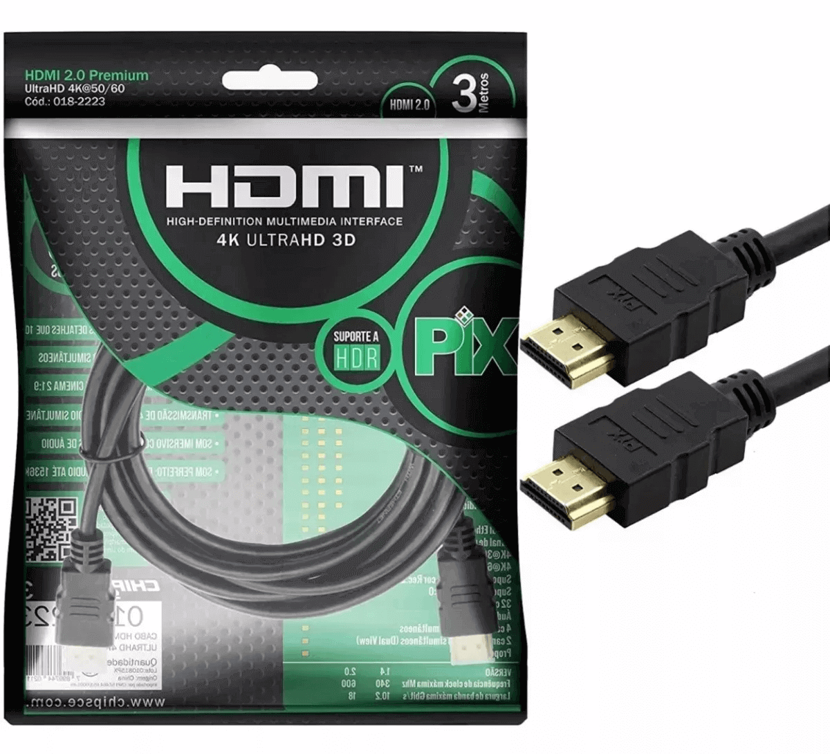 Kit 2 Cabo Hdmi 2.0 4k Hdr 3d 19 Pino 3m Pix Chip Sce
