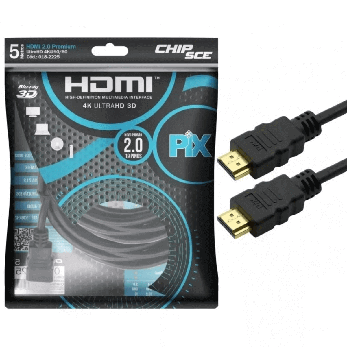 Kit 3 Cabo Hdmi 2.0 4k Hdr 3d 19 Pino 5m Pix Chip Sce