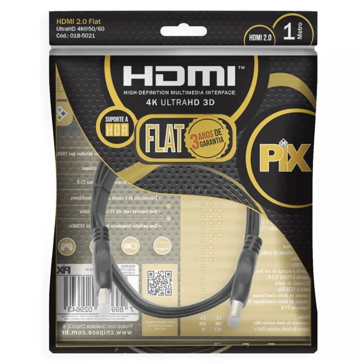 Kit 3 Cabo Hdmi Flat 2.0 Pix 19 Pinos 4k Ultrahd 3d Hdr 1 M