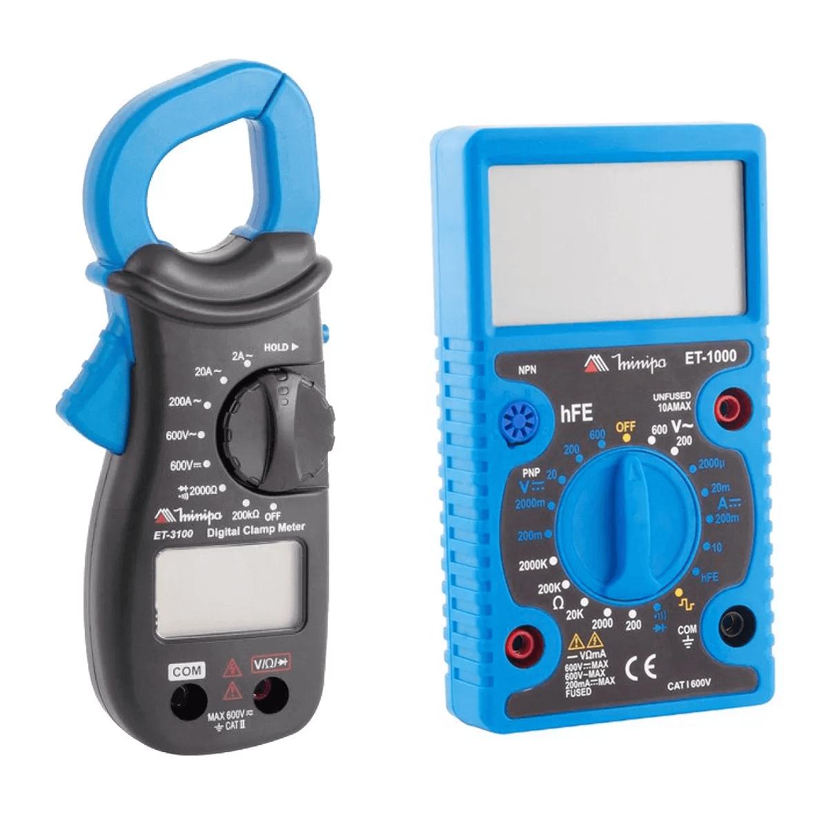 Kit Minipa Alicate Amperímetro Et-3100 + Multímetro Et-1000