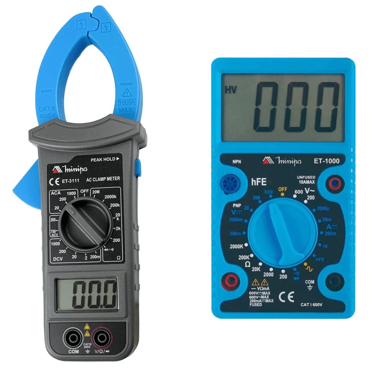 Kit Minipa Alicate Amperímetro Et-3111 + Multímetro Et-1000