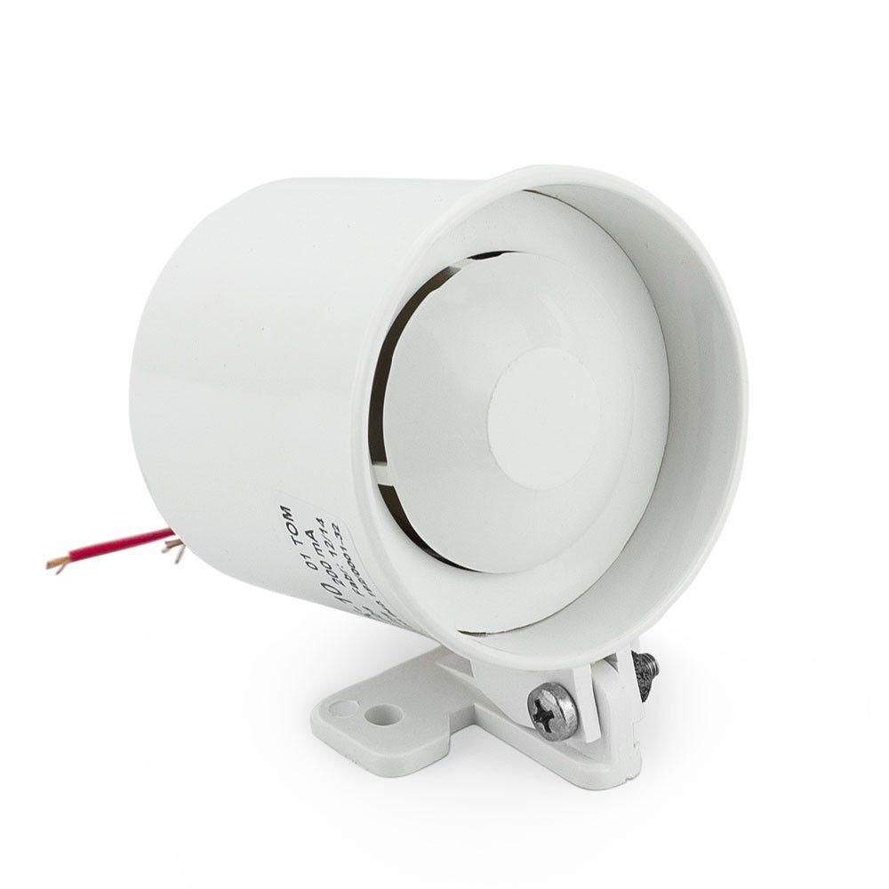 Mini Sirene Piezoelétrica 120DB 12 Volts Branca p/ Alarme