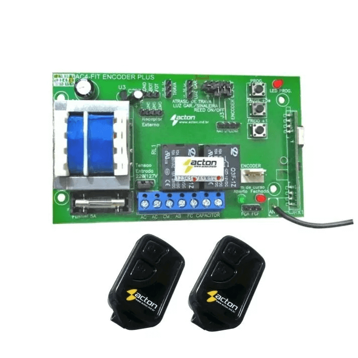 Placa Central Portão Ac4 Fit Pa Encoder Acton + 2 Controles