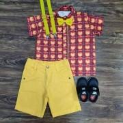 Bermuda Amarela com Camisa Homem de Ferro Infantil