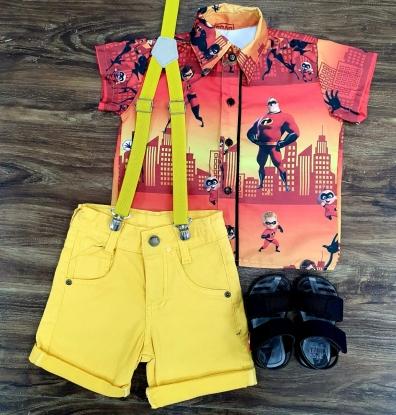 Bermuda Amarela e Suspensório com Camisa Os Incríveis