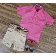 Bermuda Areia com Camisa Bata Rosa