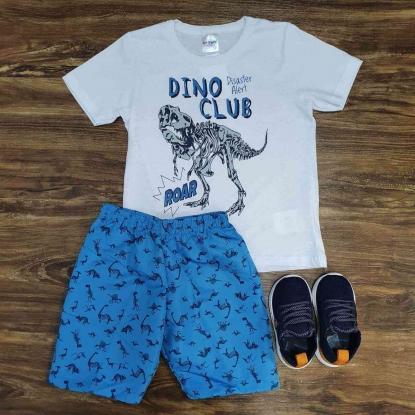 Bermuda Azul com Camiseta Branca Infantil