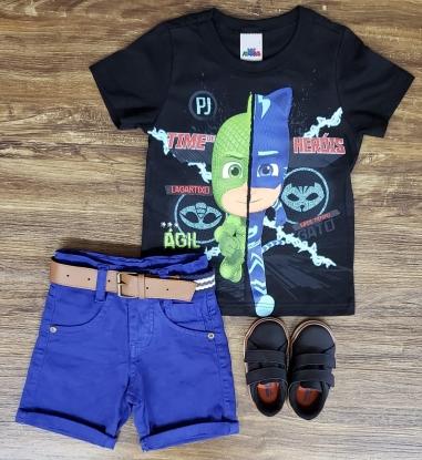 Bermuda Jeans Azul com Camiseta PJ Masks Infantil