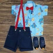 Bermuda Azul Marinho com Camisa Galinha Pintadinha Infantil