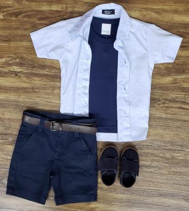 Bermuda Azul Marinho com Camiseta e Camisa