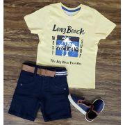 Bermuda Azul Marinho com Camiseta Long Beach Paetê Mágico