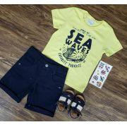 Bermuda Azul Marinho Com Camiseta Sea Waves