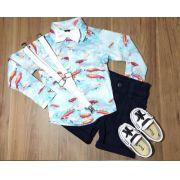 Bermuda Azul Marinho com Suspensório e Camisa Manga Longa com Gravata