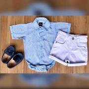 Bermuda Branca com Body Social Azul Infantil