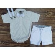 Bermuda Branca com Body Social Nude Infantil