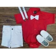 Bermuda Branca com Body Vermelho Infantil