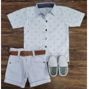 Bermuda Branca com Camisa Âncoras