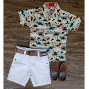 Bermuda Branca com Camisa Dinossauros