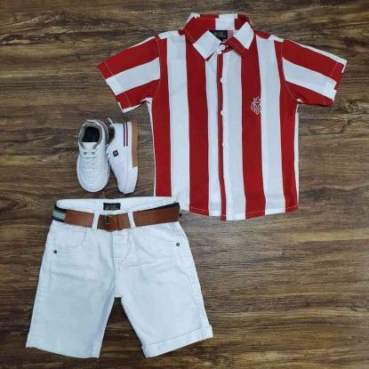 Bermuda Branca com Camisa Listrada Infantil