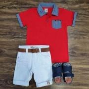 Bermuda Branca com Camisa Polo com Bolso Vermelha Infantil
