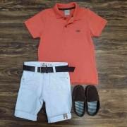 Bermuda Branca com Camisa Polo Coral Infantil