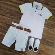 Bermuda Branca com Camisa Polo CRH Infantil